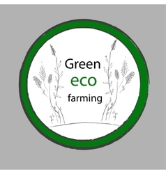 Organic Farm Eco Green label vector image