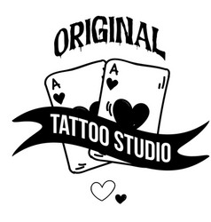 original tattoo studio ribbon card background vect vector image