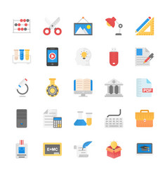 Pack education school and study flat icons vector