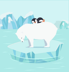 penguins sleeping with polar bears at north pole vector image
