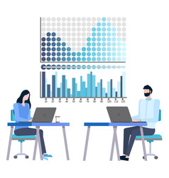 people analyzing financial growth and statistics vector image