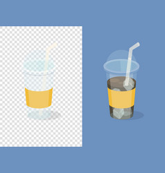 plastic coffee cups on transparent and blue vector image
