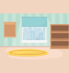 Playroom shelves carpet window cityscape view vector