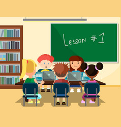 pupils studying online in classroom with laptops vector image