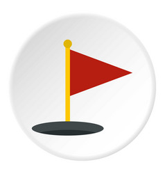 Red golf flag icon circle vector