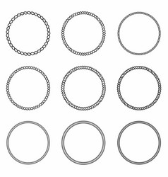 rope frame set round frames from nautical rope vector image