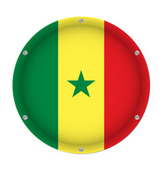 round metallic flag of senegal with screws vector image