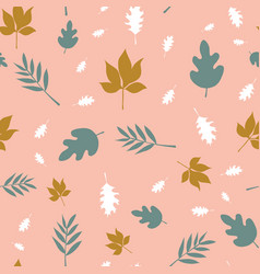 Scattered fall leaves seamless background vector