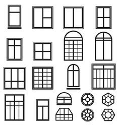 set black window icons vector image