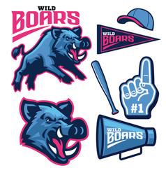 set bundle sport wild boar mascot vector image