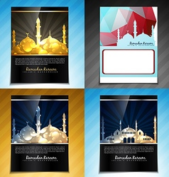 set of attractive brochure design of eid fes vector image