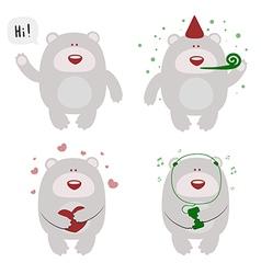 Set of four selebrating bears vector
