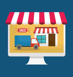 Shopping online related icons vector