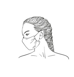 Sketch young teenage girl in profile vector