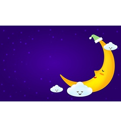 Sleeping moon and clound on the star night vector