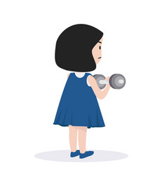 small girl lifting dumbell vector image