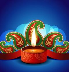 stylish diwali diya vector image
