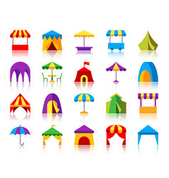 Tent simple flat color icons set vector
