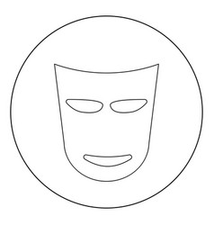 theater mask icon black color in circle vector image