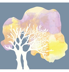 Tree with crone silhouette - watercolor style vector image