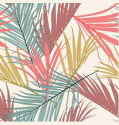 Tropical abstract vintage abstract color leaves vector