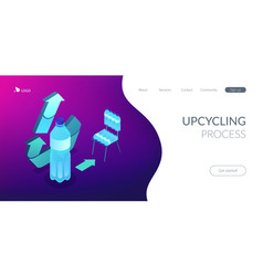 upcycling process isometric 3d landing page vector image