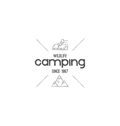 Vintage mountain camping badge outdoor logo vector image