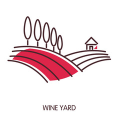 Wine yard promotional emblem with wide fields and vector
