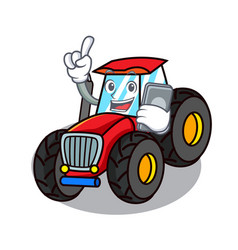 With phone tractor character cartoon style vector