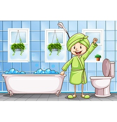 woman in the bathroom vector image