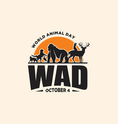 world animal day vintage vector image