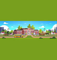 yellow bus in front of school building yard pupils vector image