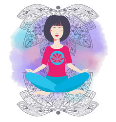 Yoga girl in lotus position and watercolor vector