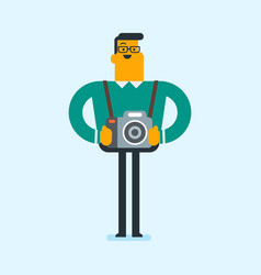 young caucasian photographer with photo cameras vector image vector image