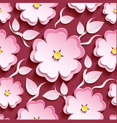 Pink seamless pattern with 3d sakura and leaf vector