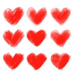 set of hand drawn hearts design element vector image