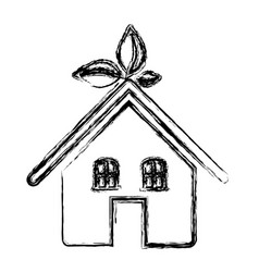 sketch silhouette of ecological house vector image