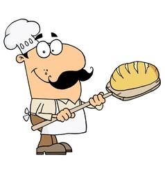 Caucasian Cartoon Bread Baker Man vector image vector image