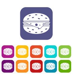 cheeseburger icons set vector image