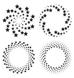 Halftone circles of stars twisted spiral vector
