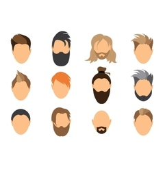Set of mens hairstyles beards and mustaches vector image