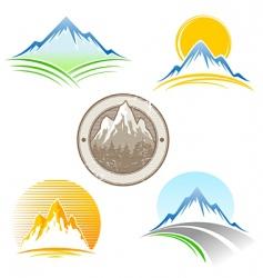 set of mountains emblem vector image