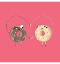 two donuts make heart shape funny cartoon vector image