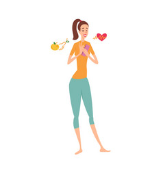 woman using fitness smartphone application to vector image