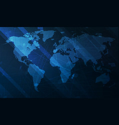 abstract blue world map background digital vector image vector image