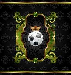 Football label with golden crown vector image vector image