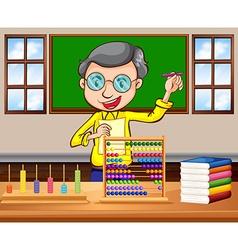 Math teacher in the classroom vector image