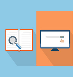 search with book and computer vector image