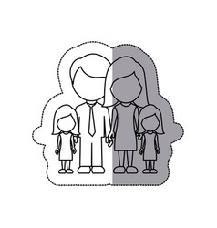 silhouette family their girls twins icon vector image