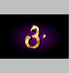 3 three number numeral digit golden 3d logo icon vector image